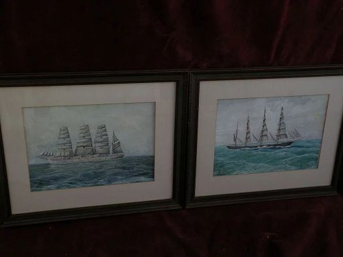 Marine art PAIR of ink and gouache drawings of clipper ships signed and dated
