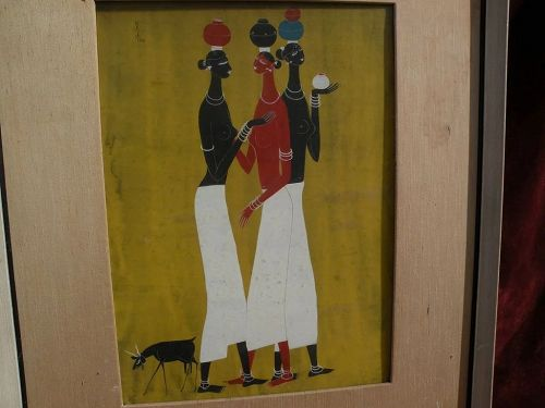 RASIK DUGASHANKER RAVAL (1928-1980) South Asian art gouache drawing of stylized Indian female figures