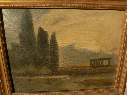 Greek art 1914 signed painting of temple ruins in a luminous landscape