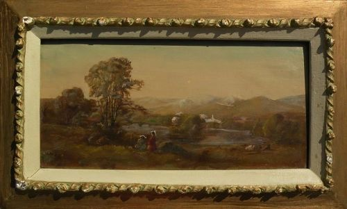 JUNIUS SLOAN (1827-1900) Hudson River painting by early Midwest artist