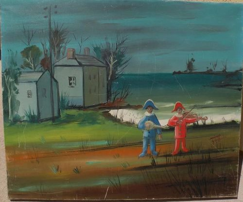 NINO GIUFFRIDA (1924-) modernist landscape painting with harlequins by well listed French-Italian artist