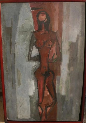 PAOLO RISSONE (1925-) rare modernist figural painting by well exhibited Italian artist associated with Brazil
