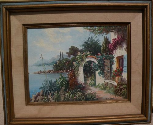 Impressionist Mediterranean painting of house on the coast�