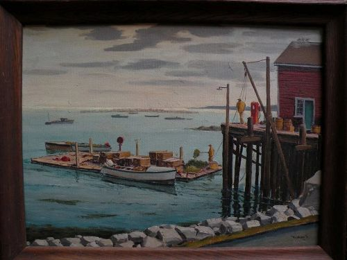 RAYMOND JAMES HOLDEN (1901-c. 1984) American art original New England fishing dock scene painting