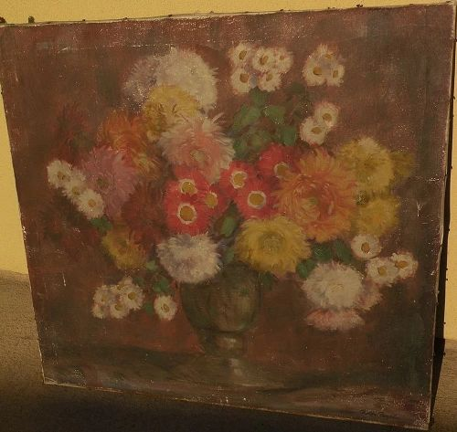 ROLF REGELE (1899-1987) impressionist still life painting of flowers in a vase by listed German artist