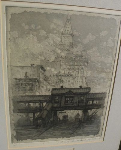 "HENRY VAN NOTTI (1876-1962) New York City etching ""The L"" listed artist�"