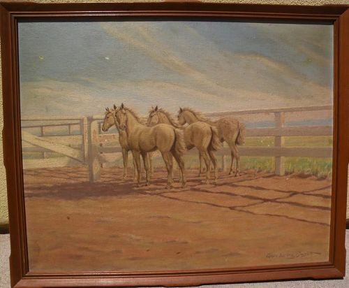 GRACE LORING BASSETT American art circa 1940 painting by illustrator artist of wild horses in a western corral