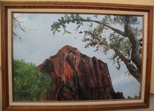 Signed landscape painting red rocks and tree