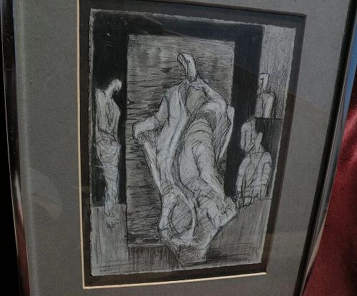 Modern pencil and ink drawing of figures in style of Henry Moore