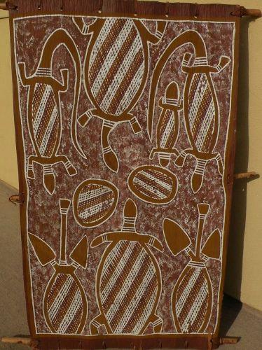 """LEFT HAND GEORGE"" JUNGAWANGA (born c. 1938) Australian aboriginal art eucalyptus bark painting"