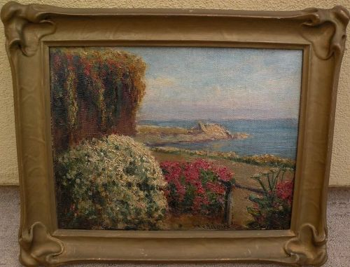 WILLIAM ADAM (1846-1931) California plein air art painting of a garden� by the sea