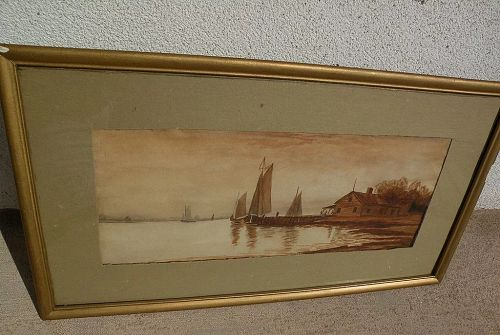 Antique American watercolor painting boats at the coast