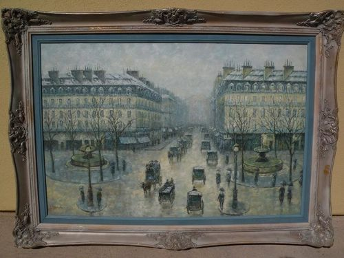 G. SHERMAN contemporary impressionist painting classic Paris street scene by popular artist