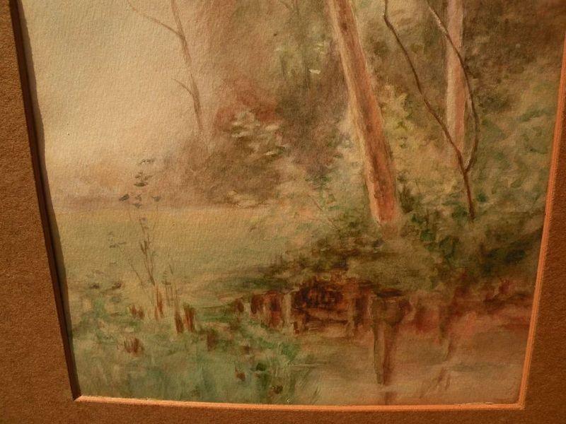 Vintage American art watercolor painting trees by lake or pond
