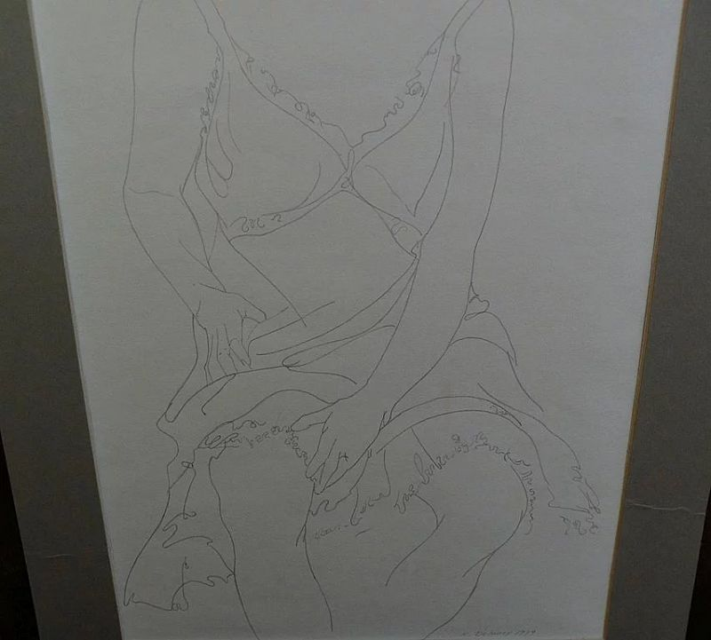 Original signed contemporary pencil drawing of a seated woman dated 1979