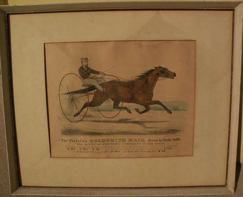 """CURRIER & IVES original hand colored 1871 lithograph print """"The Peerless GOLDSMITH MAID"""" trotter horse"""