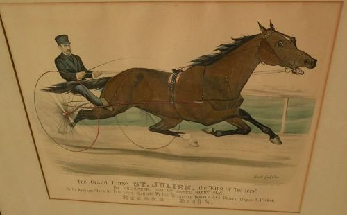 """CURRIER & IVES original hand colored 1881 lithograph print """"The Grand Horse ST. JULIEN, the 'King of Trotters'."""""""