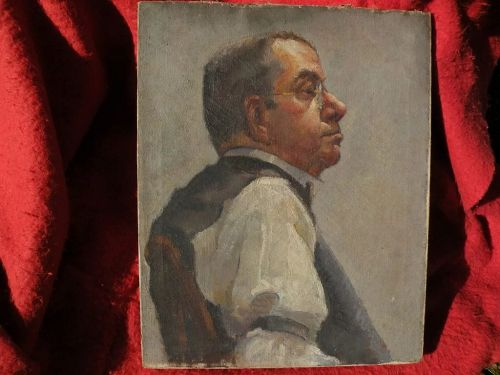 American art oil male portrait painting circa 1920 possibly by ROBERT BRACKMAN (1898-1980)