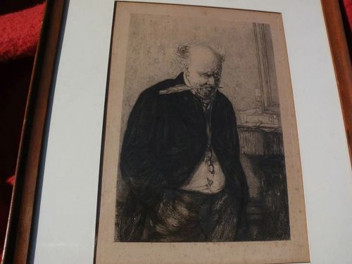 """After ERSKINE NICOL (1825-1904) Scottish art etching """"Worried"""" by Leon Richeton 1879"""