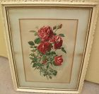 Vintage print of red roses in shabby chic style