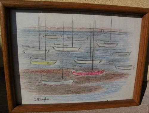 DAISY MARGUERITE HUGHES (1882-1968) color crayon sketch of small boat anchorage probably Cape Cod Massachusetts