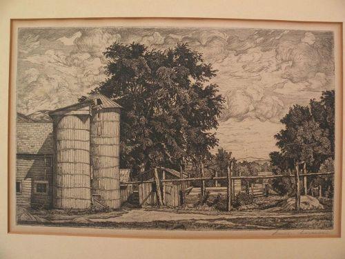 "LUIGI LUCIONI (1900-1988) American art pencil signed 1942 etching ""Two Silos"""
