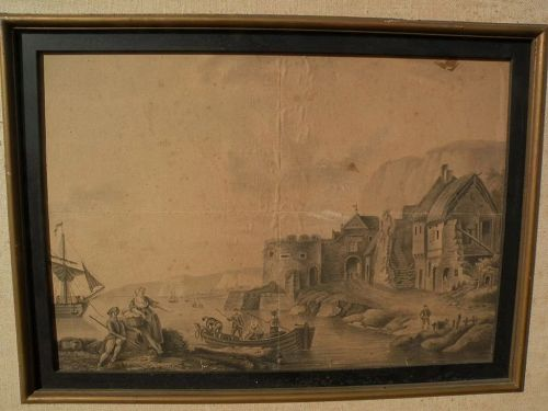 Antique signed circa 18th century ink old master style drawing of coastal harbor with ships, a town, and figures