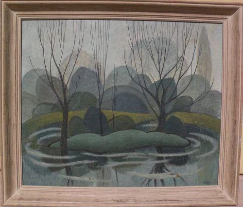 Canadian art modernist 1953 landscape painting reminiscent of Group of Seven signed F. SULLIVAN