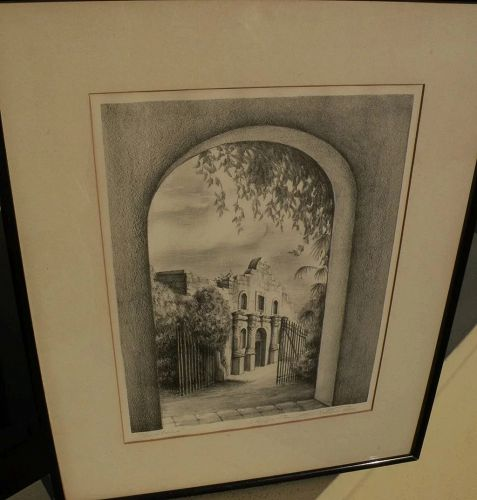"Vintage Texas art original pencil signed lithograph ""The Alamo"" by artist M. CRITTENDEN"