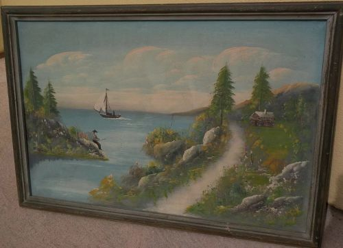 American folk art 20th century naive landscape painting with fisherman, cabin and boat