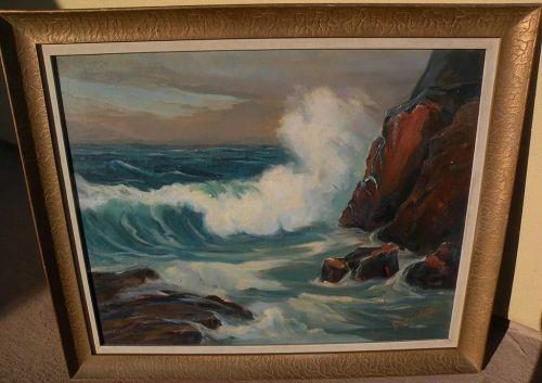 GEORGE SANDERS BICKERSTAFF (1893-1954) California plein air art impressionist painting of coastal surf