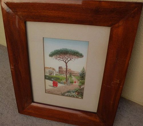 Italian 19th century watercolor painting of the Colosseum and figures in gardens signed CONTI