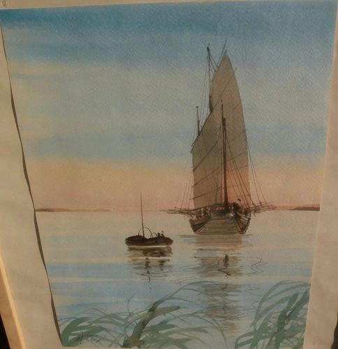 Contemporary Asian signed watercolor painting of Chinese junk reflected in calm waters
