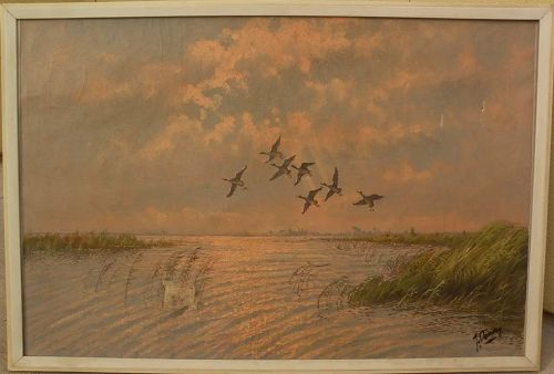 Signed large impressionist painting ducks flying over a marsh