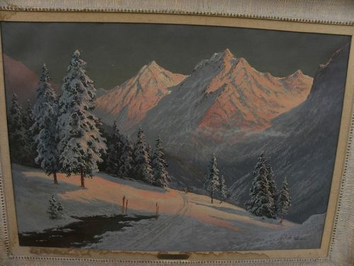 Alps at sunset or dawn glow large painting signed WALDNER