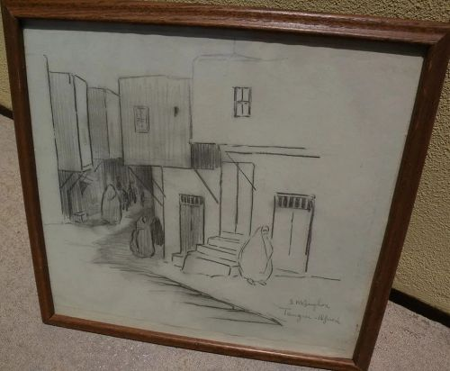 DAISY MARGUERITE HUGHES (1882-1968) pencil sketch of buildings and figures in Tangiers