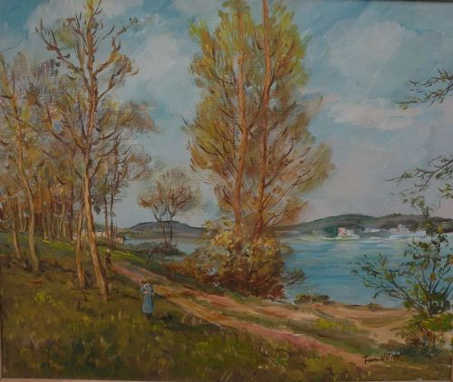 Impressionist landscape painting figures on forested path by lake signed UDKO