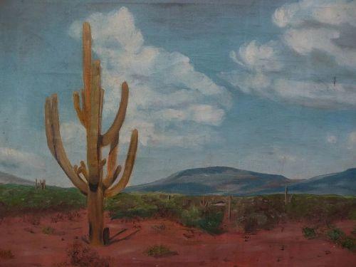 Southwest art signed Arizona desert painting with saguaro cactus