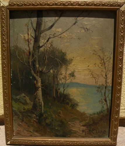 Impressionist early 20th century landscape oil painting signed A. KLUG