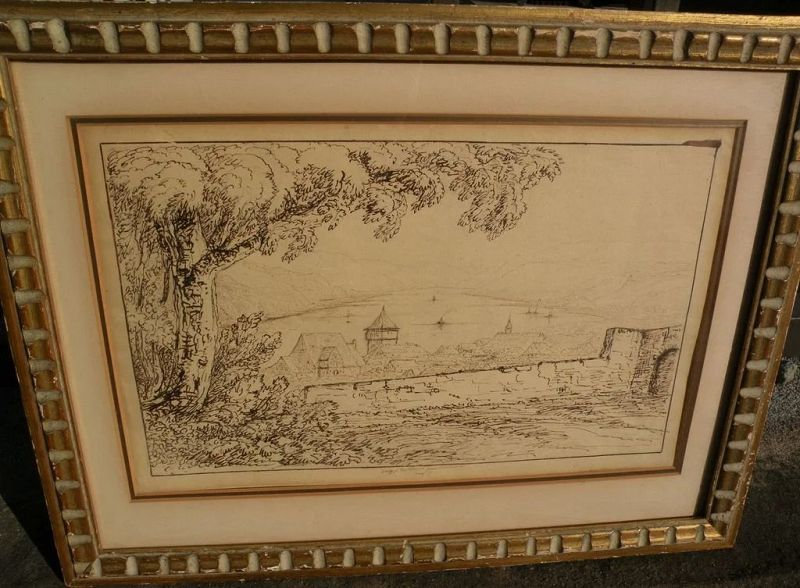 Old Master style early 19th century sepia ink drawing of Rhine River near Bacharach Germany