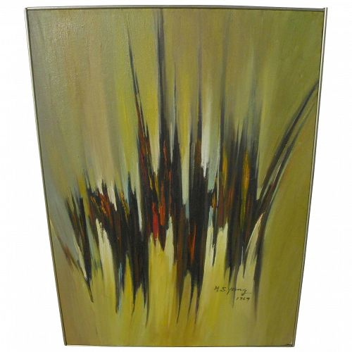 HSING-SHENG YANG (1938-2013) dramatic mid century abstract painting by Taiwan master artist
