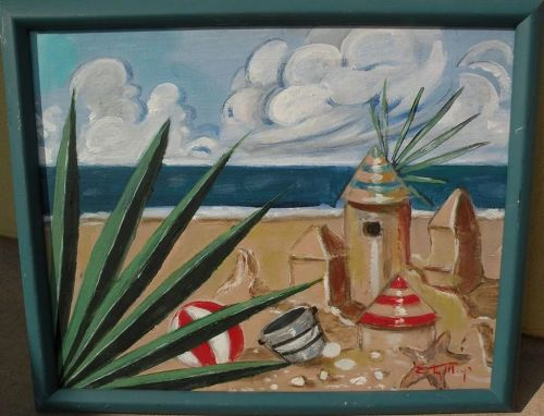 Colorful beach scene painting with an element of fantasy and the surreal