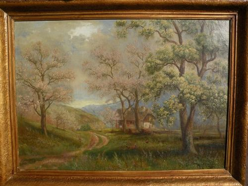 MAX LICHTMANN German 1920 signed oil painting of traditional house in forested landscape
