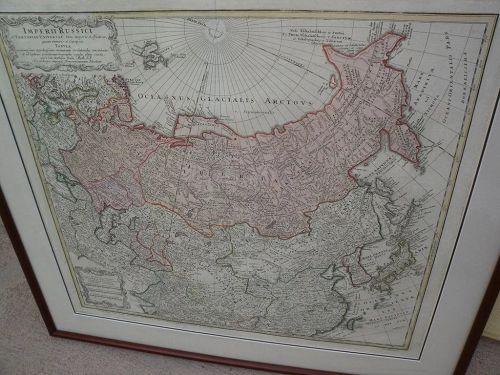 Antique map Russian Empire hand colored Johann Baptiste Homanns