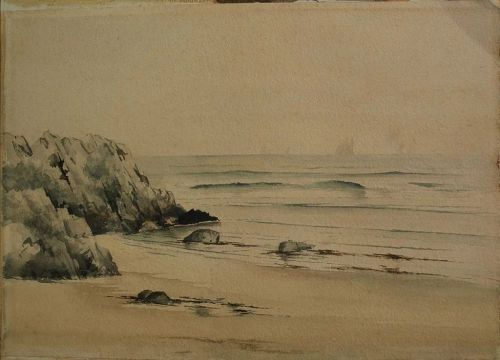 antique watercolor painting New England coast circa 1900