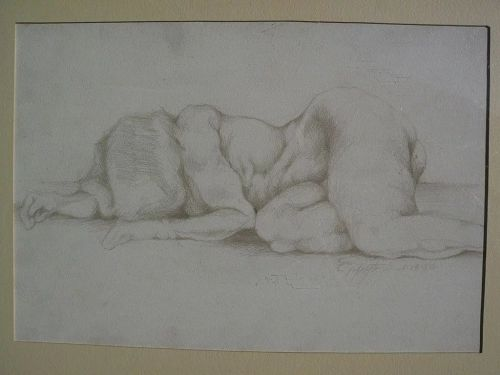 Contemporary American drawing of nude woman signed dated 1986