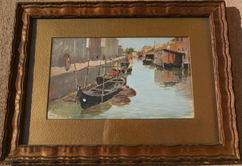 Antique impressionist oil on board painting of Italy canal