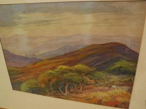 ELIZABETH HOEN (1868-1955) Northern California art impressionist watercolor landscape painting�