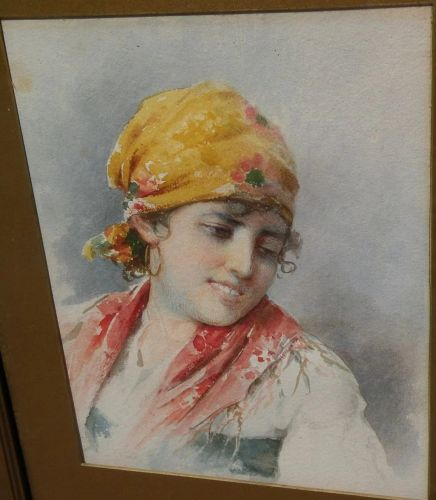 Antique Italian art fine watercolor painting of a young woman