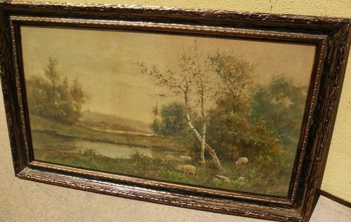 ADOLPH VAN SPANJE (1868-1948) circa 1890's American watercolor landscape painting by Dutch immigrant artist